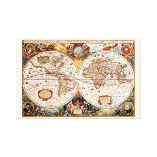 Antique medieval, historical World Map Nova Totius Canvas Print