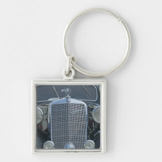 antique mercedes 2 Silver-Colored square key ring