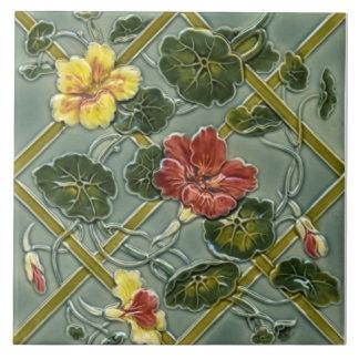 Antique Minton Floral Trellis Majolica Tile Repro