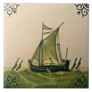 Antique Minton Hollins Delft Boat Tile #1 Repro