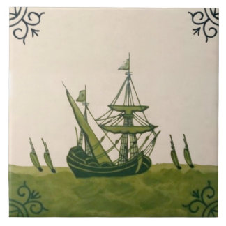 Antique Minton Hollins Delft Boat Tile #4 Repro