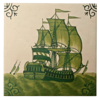 Antique Minton Hollins Delft Ship Tile #2 Repro