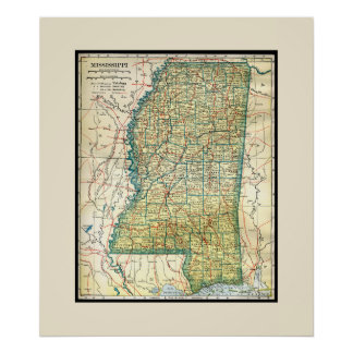 Antique Mississippi Map Print