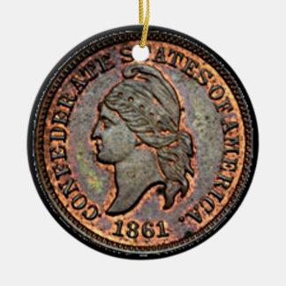 Antique Money 1861 Copper Confederate Penny Round Ceramic Decoration