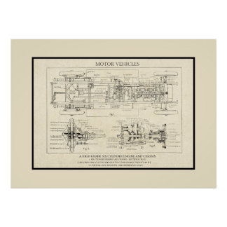 Antique Motor Vehicle Diagram Old Paper Drawing Poster
