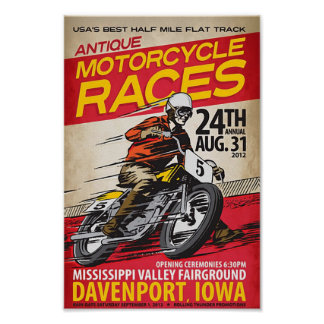 antique motorcycle races poster