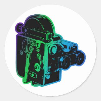 antique-movie-cam classic round sticker