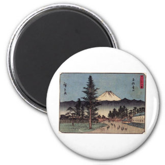 Antique Mt. Fuji Painting c. 1800s Japan 6 Cm Round Magnet