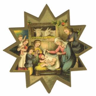 Antique Nativity Christmas Ornament Photo Sculpture Decoration