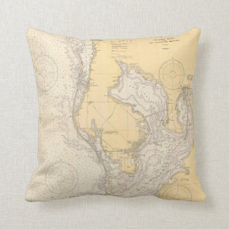 Antique nautical chart of Tampa Bay Florida Cushion