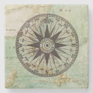Antique Nautical Compass & Map Marble Coaster Stone Coaster