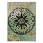 Antique Nautical Compass & Map Poster