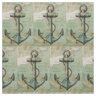 Antique Nautical Map & Anchor Fabric by the Yard