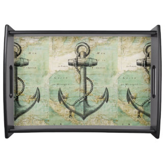 Antique Nautical Map & Anchor Serving Tray