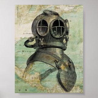 Antique Nautical Map & Dive Helmet Poster