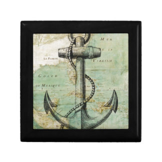 Antique Nautical Map with Anchor Gift Box