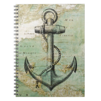 Antique Nautical Map with Anchor Spiral Notebook