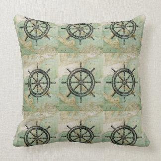 Antique Nautical Ships Wheel & Map Pillow