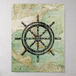 Antique Nautical Ships Wheel & Map Poster