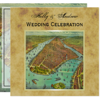 Antique New York City Map Distressed BG SQ Wedding Card