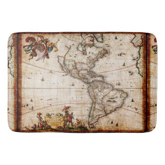 Antique North South America Map New World Vintage Bath Mats