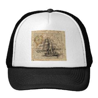 Antique Old General France Map & Ship Cap