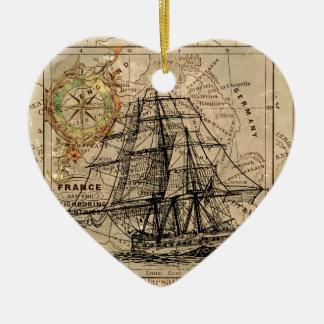 Antique Old General France Map & Ship Ceramic Heart Decoration