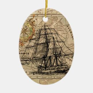 Antique Old General France Map & Ship Ceramic Oval Decoration