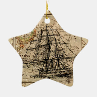 Antique Old General France Map & Ship Ceramic Star Decoration