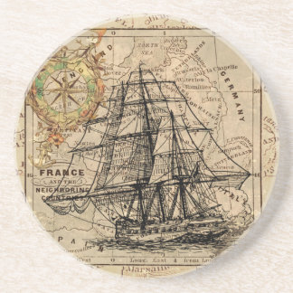 Antique Old General France Map & Ship Coasters