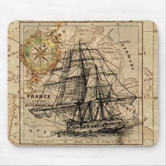 Antique Old General France Map & Ship Mouse Pad