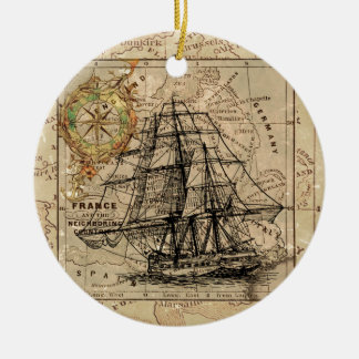 Antique Old General France Map & Ship Round Ceramic Decoration