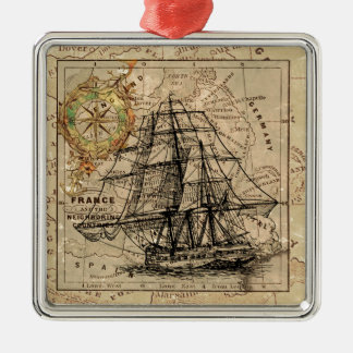 Antique Old General France Map & Ship Silver-Colored Square Decoration