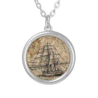Antique Old General France Map & Ship Silver Plated Necklace