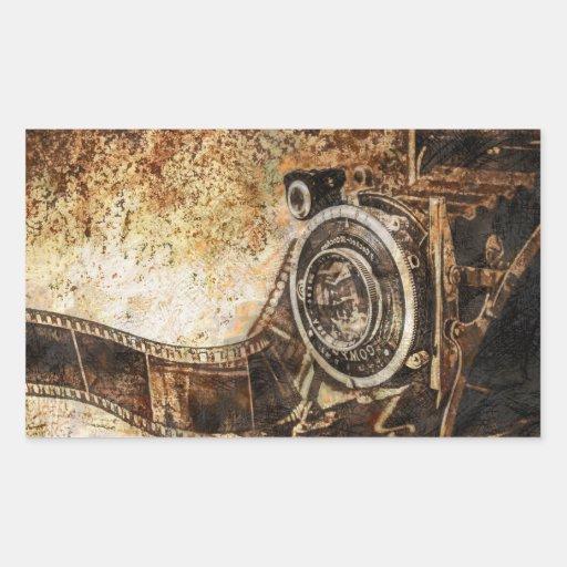 Antique Old Photo Camera Rectangle Sticker