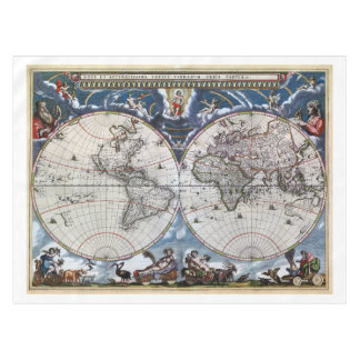 Antique old world map 1664 Restored Tablecloth