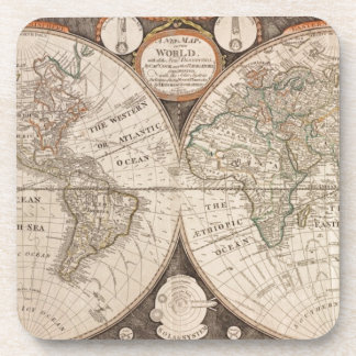 Antique Old World Map 1799 Drink Coaster