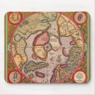 Antique Old World Map, Arctic North Pole, 1595 Mouse Pad