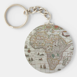 Antique Old World Map of Africa, c. 1635 Key Chain