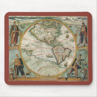 Antique Old World Map of the Americas, 1597 Mouse Pad
