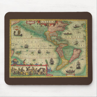 Antique Old World Map of the Americas, 1606 Mouse Pad