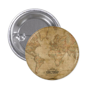 Antique Old World Map on a Pin