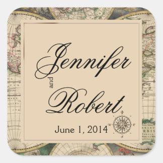 Antique Old World Map Wedding Envelope Seal Square Sticker