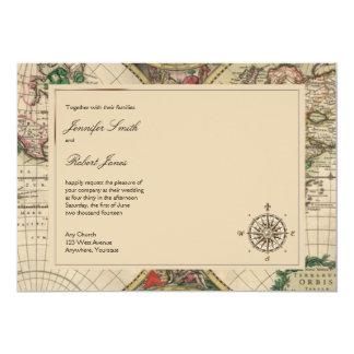 "Antique Old World Map Wedding Invitation 5"" X 7"" Invitation Card"