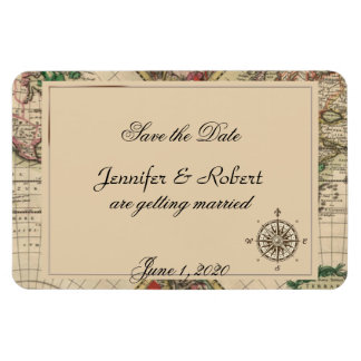 Antique Old World Map Wedding Save the Date Magnets