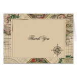 Antique Old World Map Wedding Thank You Note Card