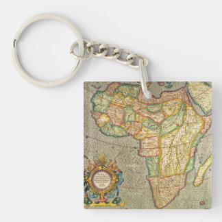 Antique Old World Mercator Map of Africa, 1633 Double-Sided Square Acrylic Key Ring
