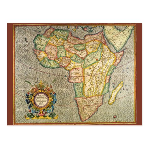 Antique Old World Mercator Map of Africa, 1633 Postcard