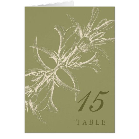 Antique Olive Floral Table Number Cards