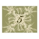 Antique Olive Floral Wedding Table Number Post Card